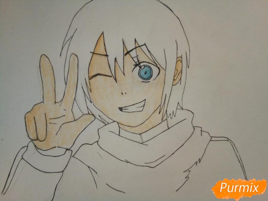 Рисуем Ято цветными карандашами - шаг 7