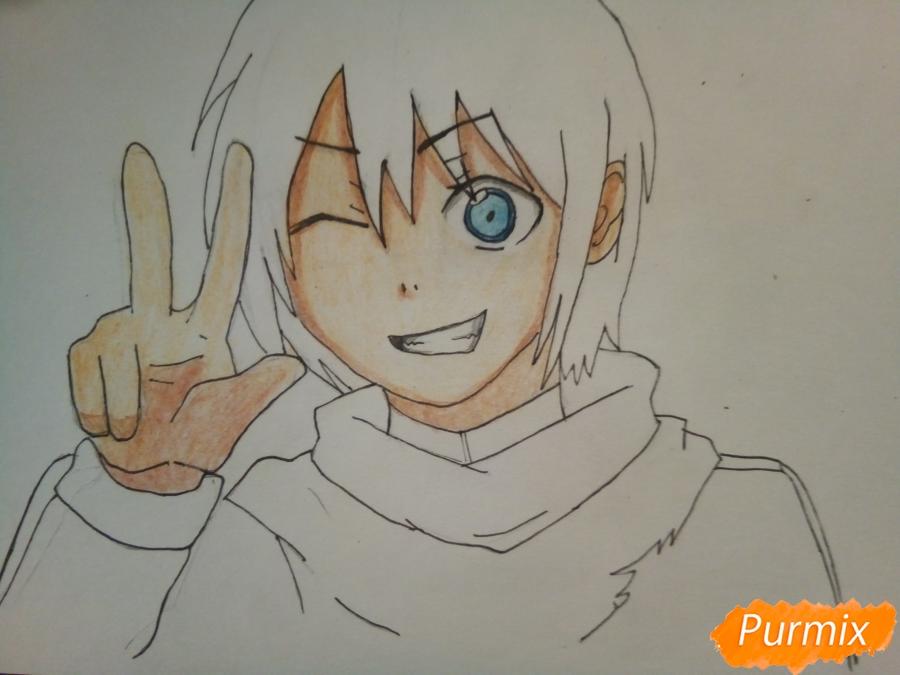 Рисуем Ято цветными карандашами - шаг 8