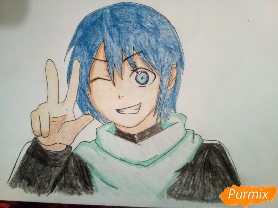 Рисуем Ято цветными карандашами - шаг 9
