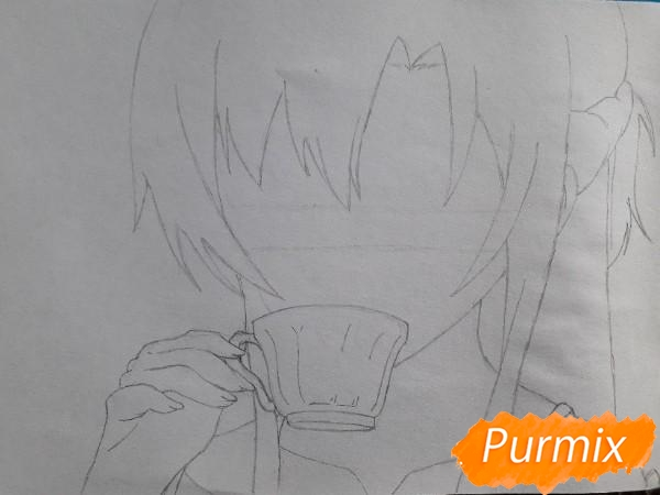Рисуем Юки Асуну с чашкой - шаг 3