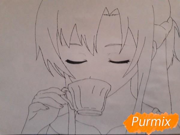Рисуем Юки Асуну с чашкой - шаг 5