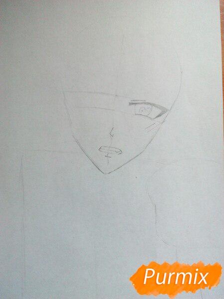 Рисуем Юрия Плисецкого цветными карандашами - шаг 2