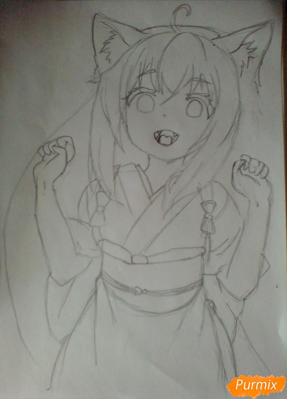 Рисуем Юзу из аниме Konohana Kitan - шаг 4