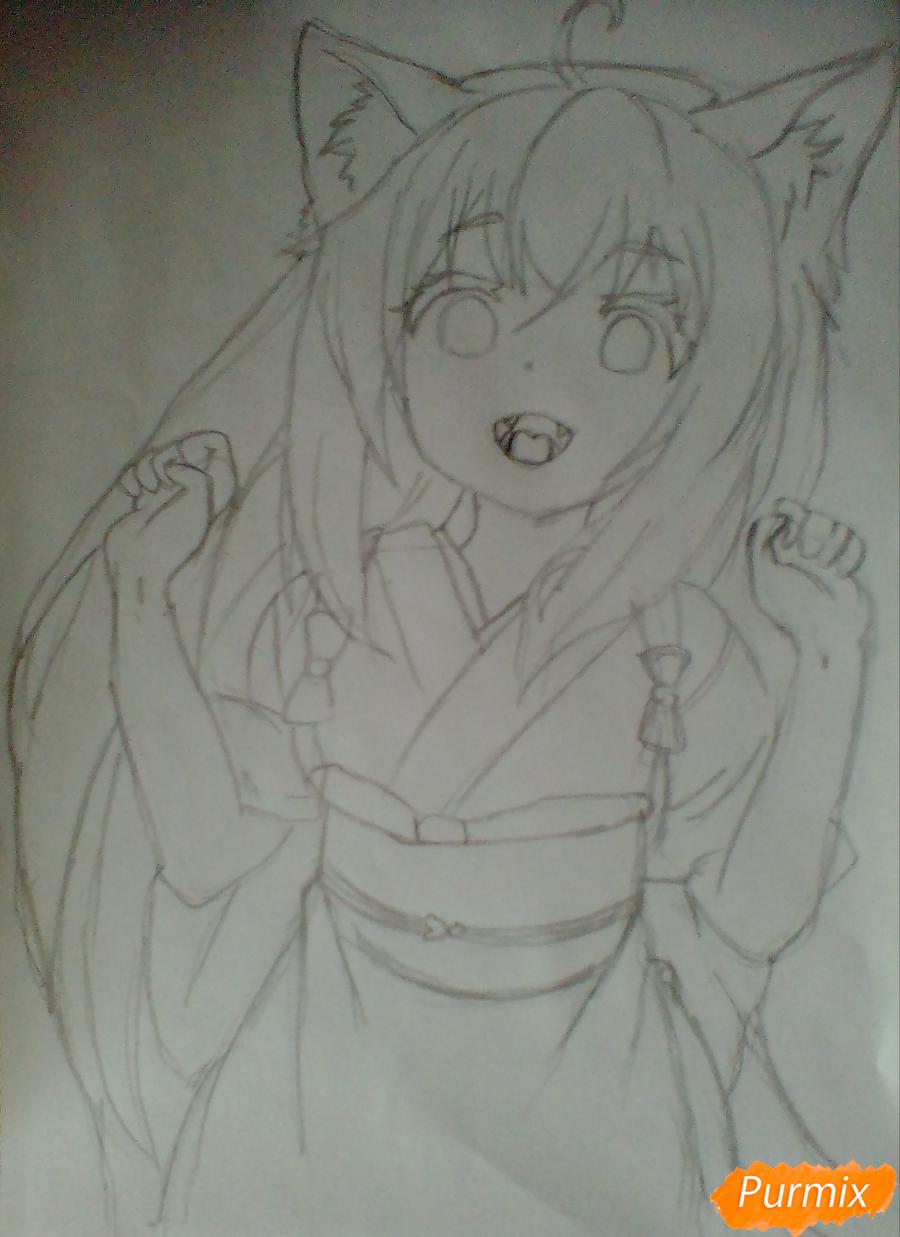 Рисуем Юзу из аниме Konohana Kitan - шаг 5