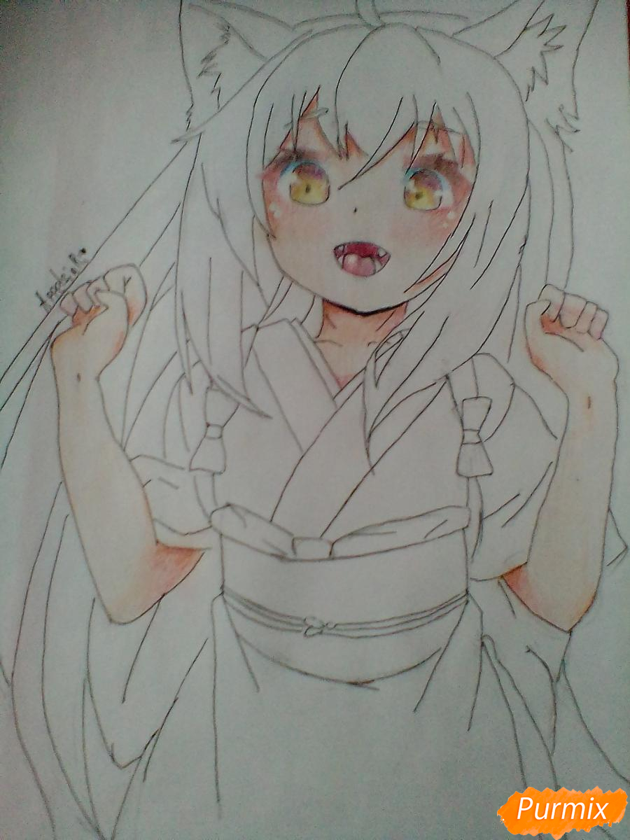 Рисуем Юзу из аниме Konohana Kitan - шаг 8