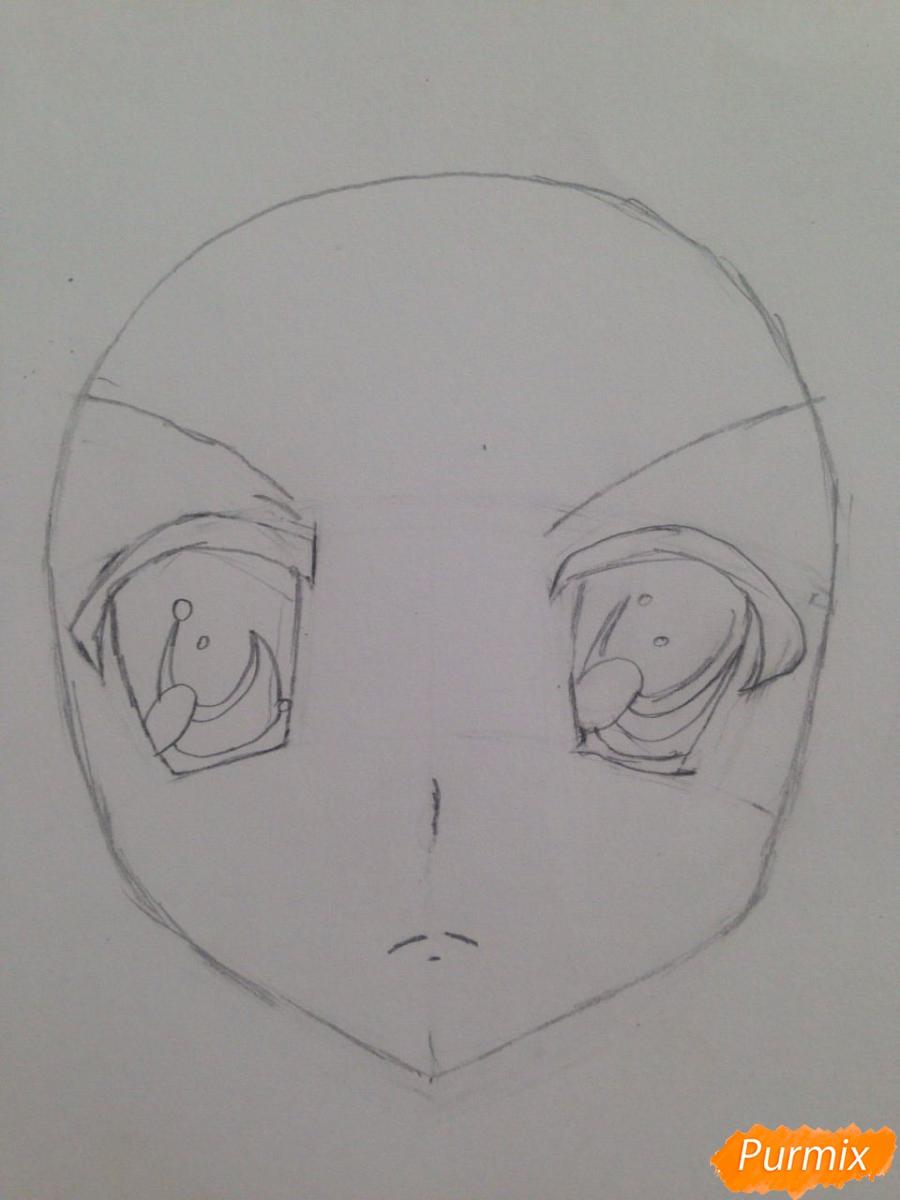 Рисуем злую Харухи Судзумия аниме Меланхолия Харухи Судзумии - шаг 2