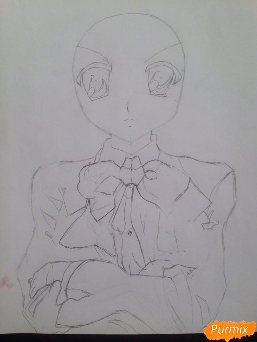 Рисуем злую Харухи Судзумия аниме Меланхолия Харухи Судзумии - шаг 3