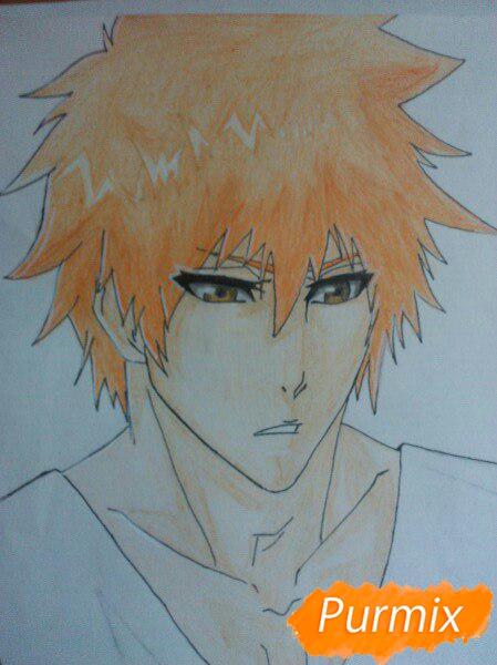 Как рисовать и раскрасить Куросаки Ичиго с мечем карандашами - шаг 10