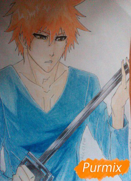 Как рисовать и раскрасить Куросаки Ичиго с мечем карандашами - шаг 12