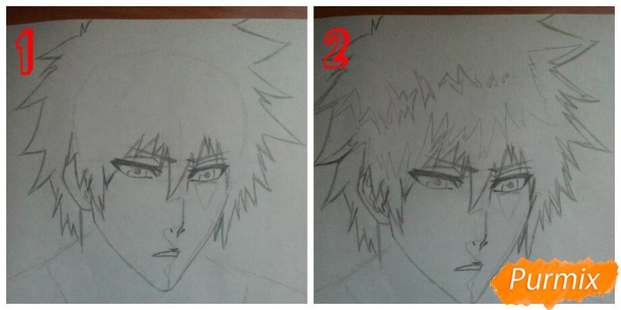 Как рисовать и раскрасить Куросаки Ичиго с мечем карандашами - шаг 4