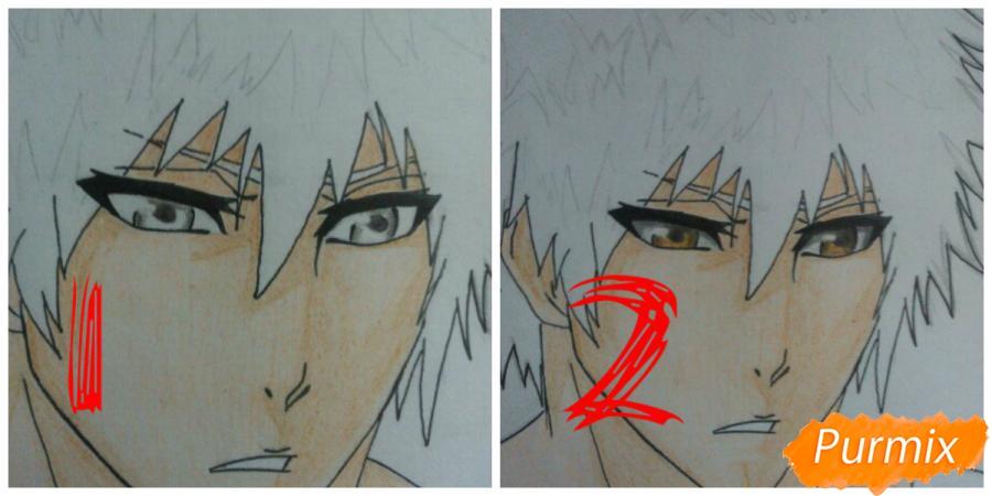 Как рисовать и раскрасить Куросаки Ичиго с мечем карандашами - шаг 9