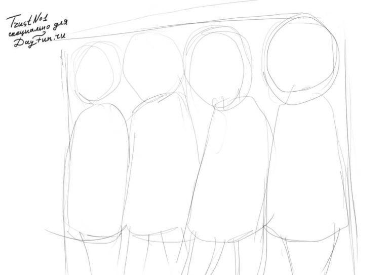 Рисуем девушек школьниц в стиле аниме - шаг 1