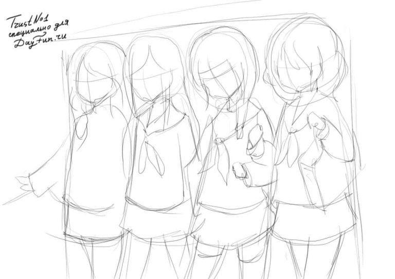 Рисуем девушек школьниц в стиле аниме - шаг 2