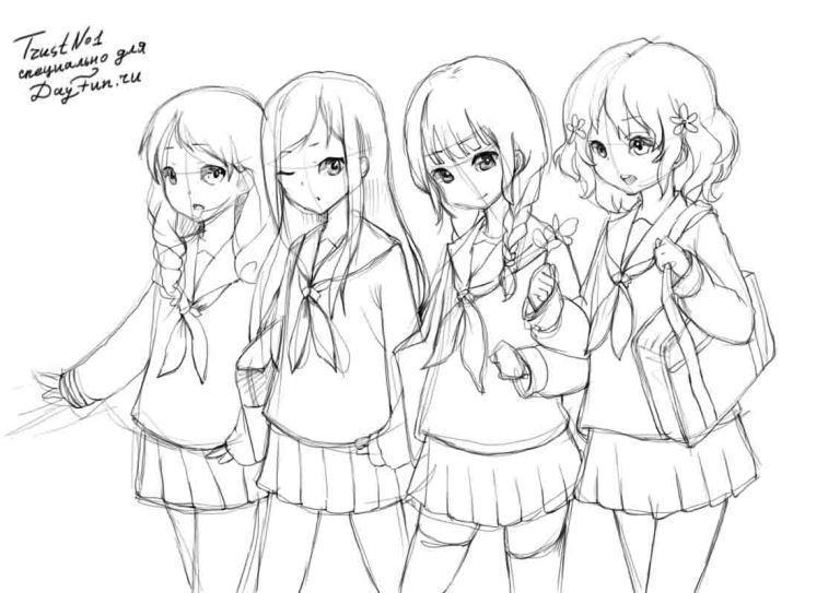 Рисуем девушек школьниц в стиле аниме - шаг 3