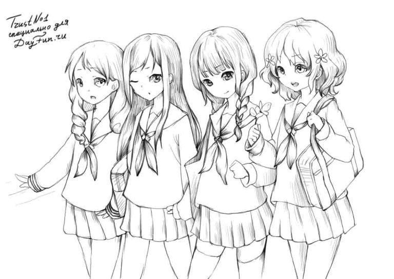 Рисуем девушек школьниц в стиле аниме - шаг 4