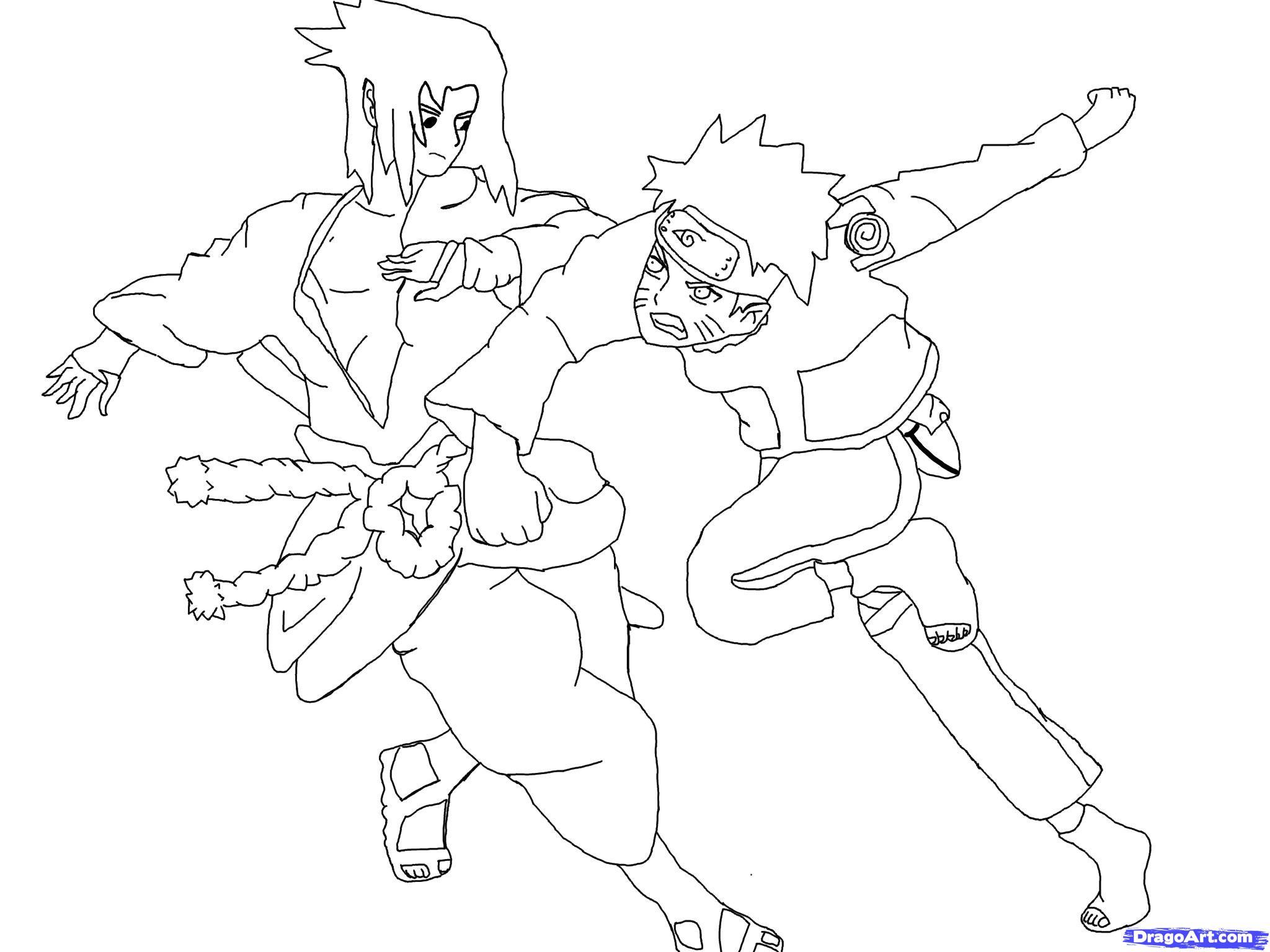 Как нарисовать Наруто против Саске на бумаге карандашом поэтапно