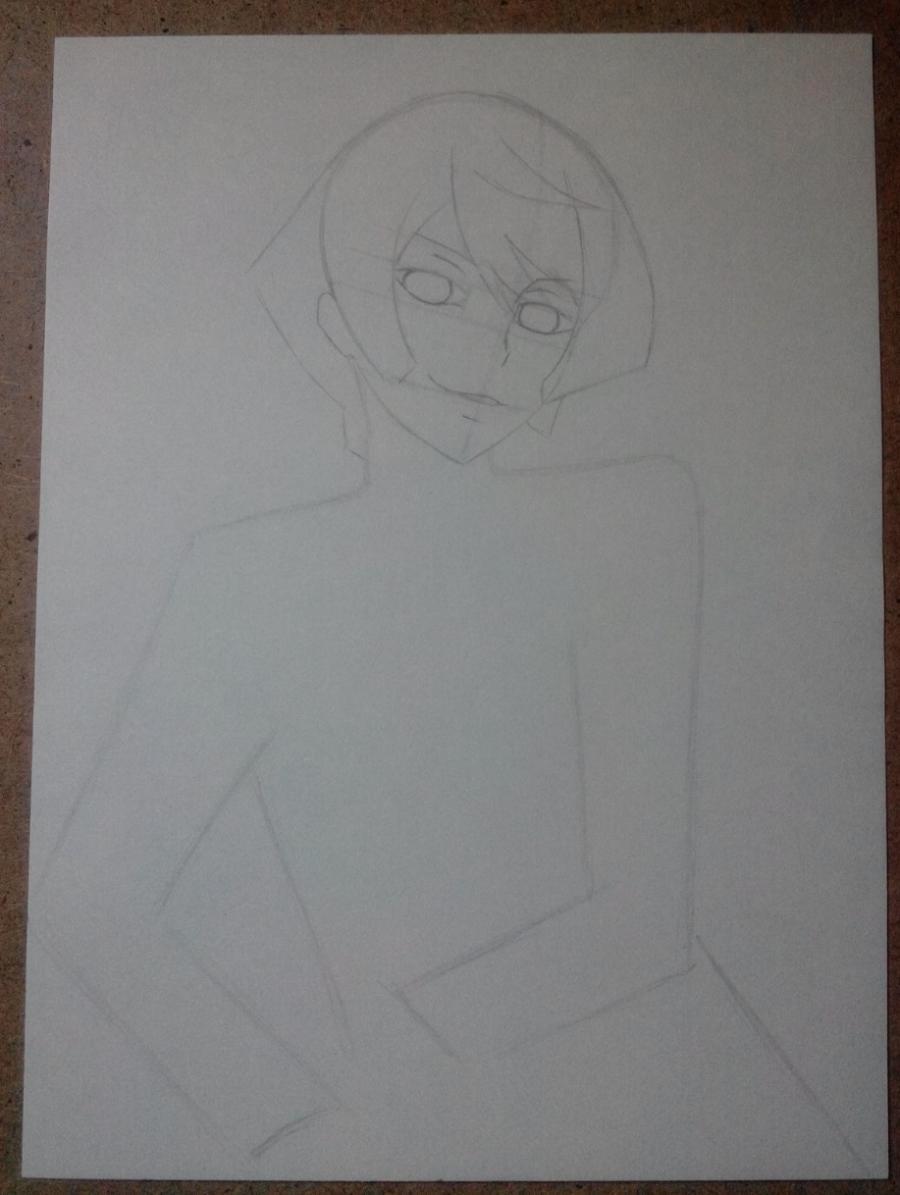 Рисуем и раскрасить Алоиса Транси из аниме Темный дворецкий карандашами - шаг 3