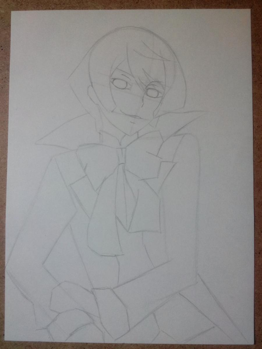 Рисуем и раскрасить Алоиса Транси из аниме Темный дворецкий карандашами - шаг 4