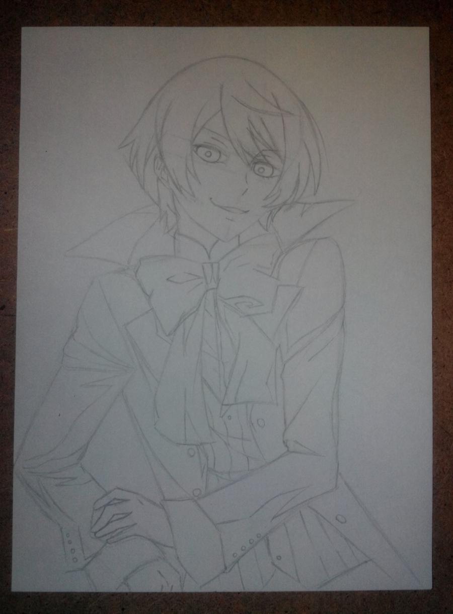 Рисуем и раскрасить Алоиса Транси из аниме Темный дворецкий карандашами - шаг 5