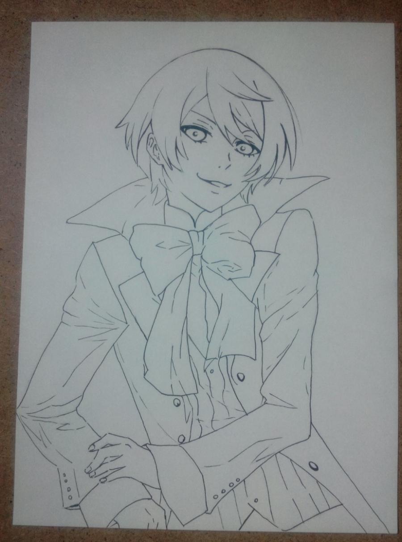 Рисуем и раскрасить Алоиса Транси из аниме Темный дворецкий карандашами - шаг 6