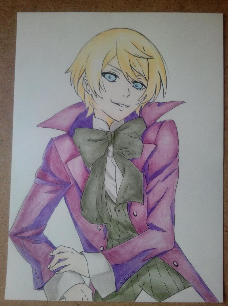 Рисуем и раскрасить Алоиса Транси из аниме Темный дворецкий карандашами - шаг 7
