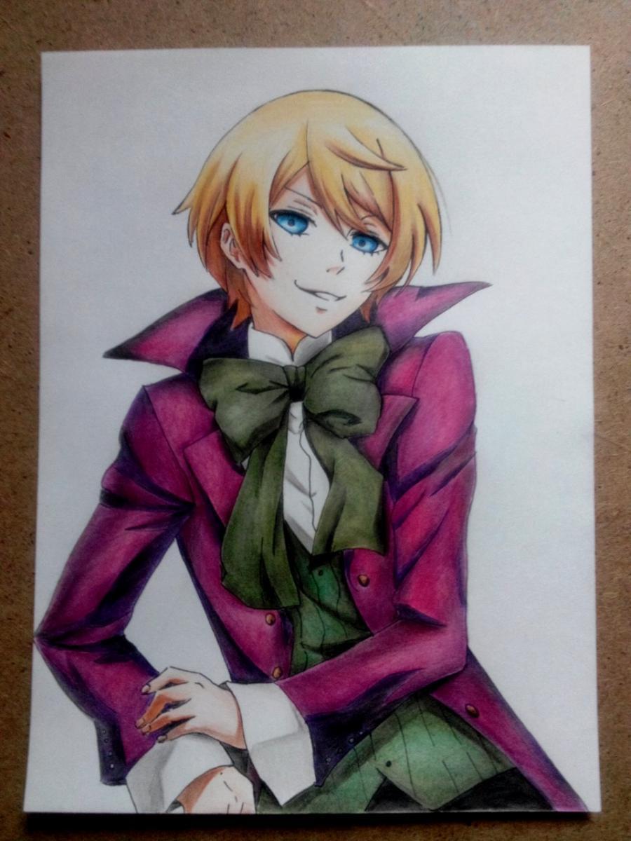 Рисуем и раскрасить Алоиса Транси из аниме Темный дворецкий карандашами - шаг 8