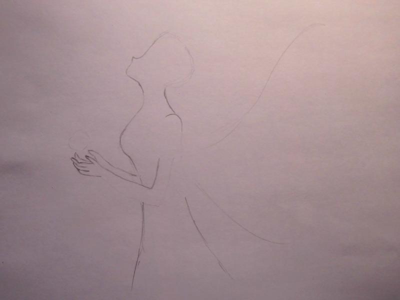 Рисуем Ами Мицуно в образе феи - шаг 1