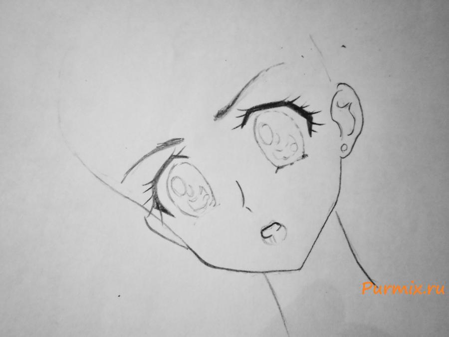 Рисуем Сейлор Меркурий карандашами - шаг 2