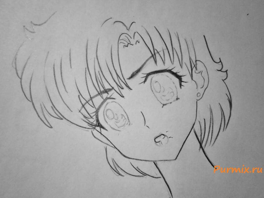 Рисуем Сейлор Меркурий карандашами - шаг 3