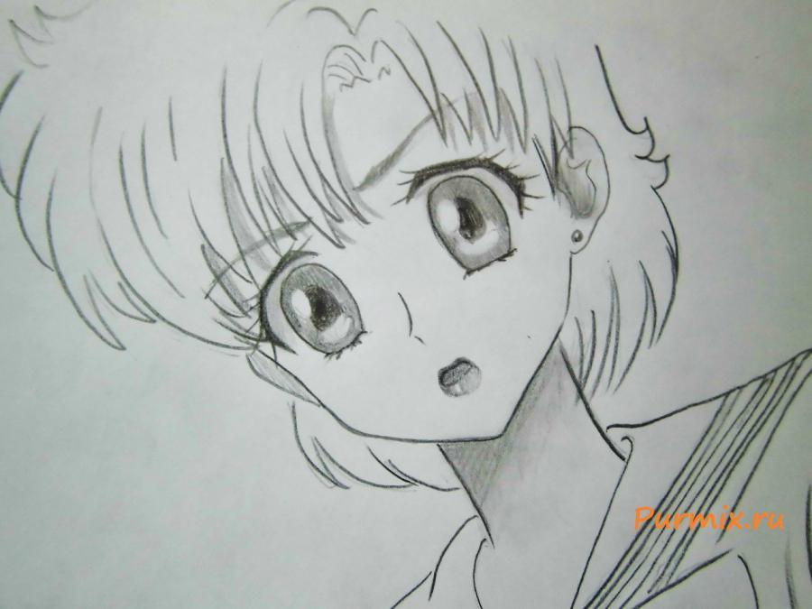 Рисуем Сейлор Меркурий карандашами - шаг 5
