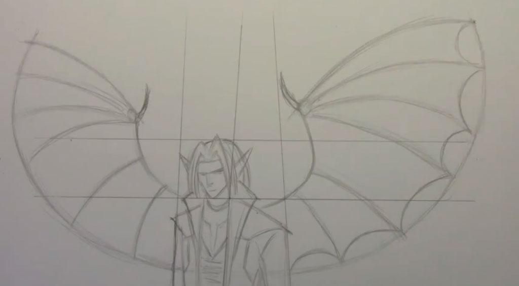 Рисуем аниме демона с крыльями