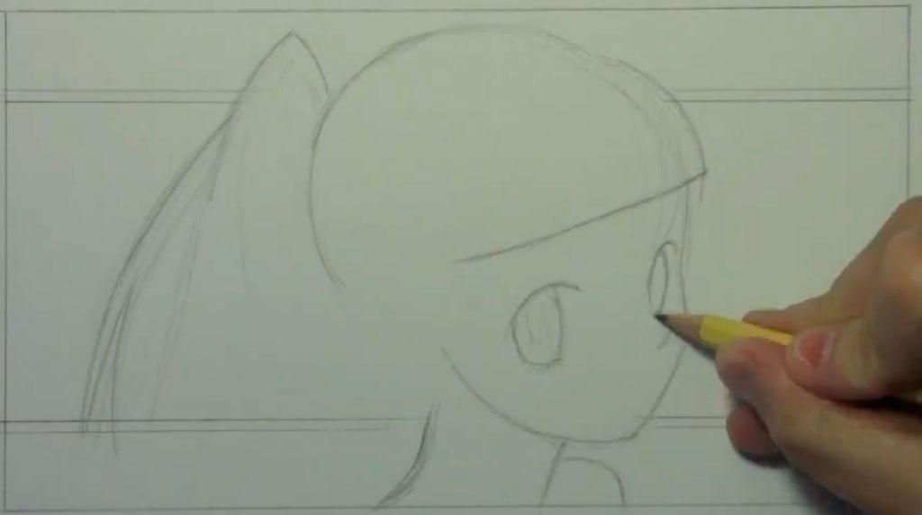 Рисуем аниме девушку с наушниками карандашами - шаг 1