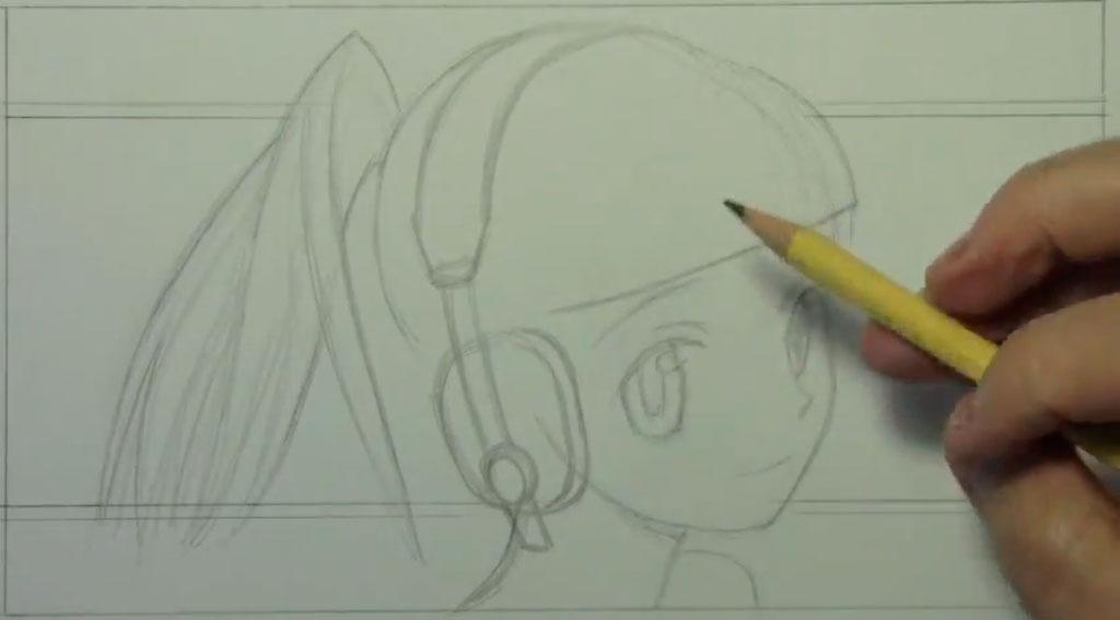 Рисуем аниме девушку с наушниками карандашами - шаг 2