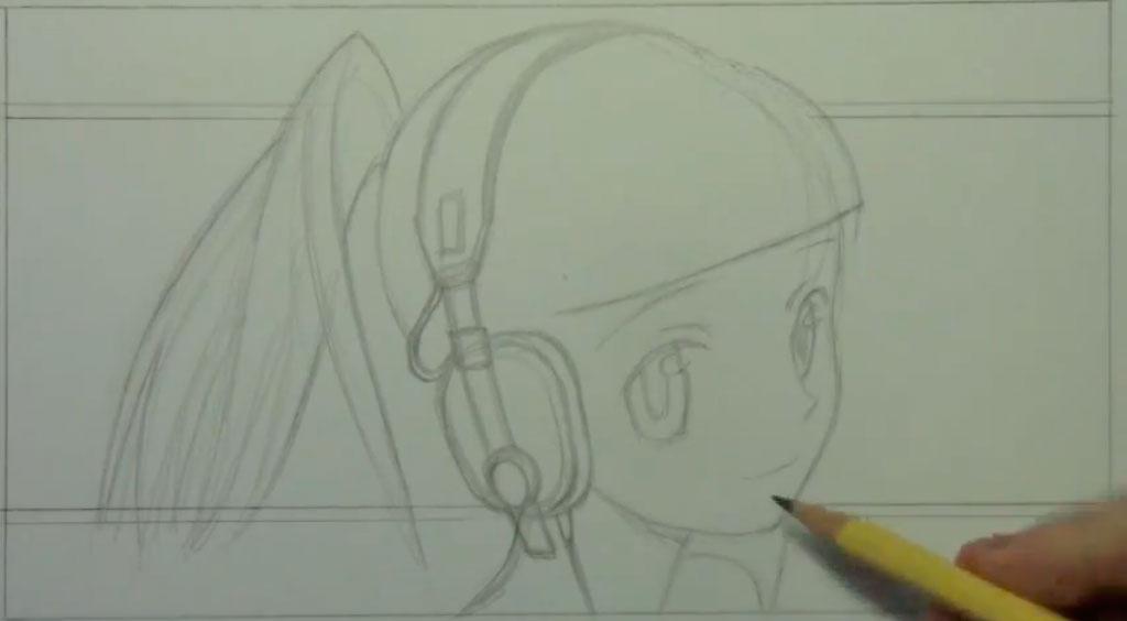 Рисуем аниме девушку с наушниками карандашами - шаг 3