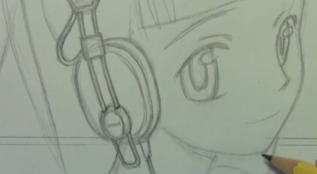 Рисуем аниме девушку с наушниками карандашами - шаг 4