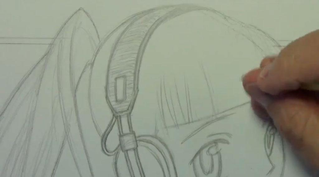 Рисуем аниме девушку с наушниками карандашами - шаг 5