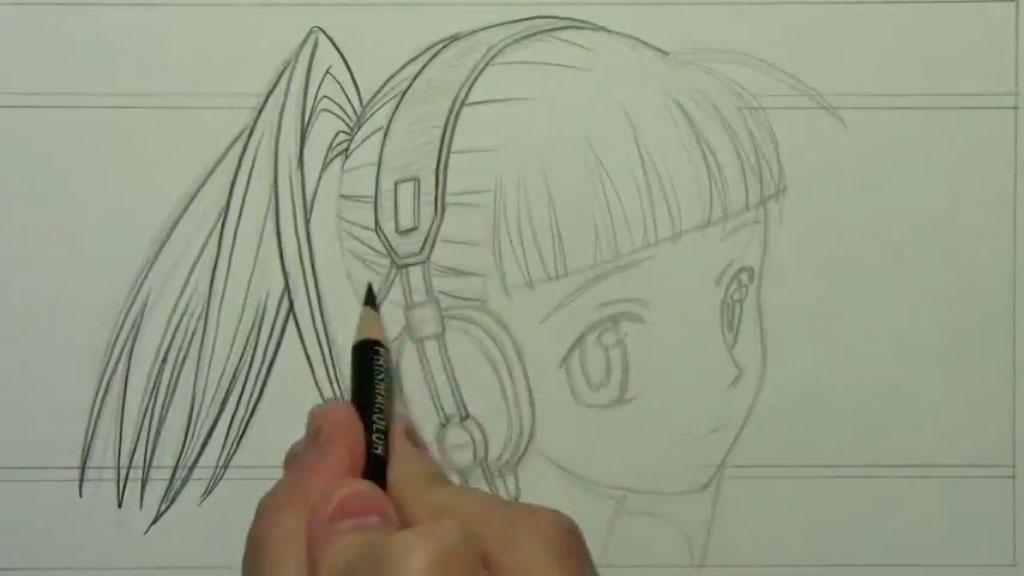 Рисуем аниме девушку с наушниками карандашами - шаг 6