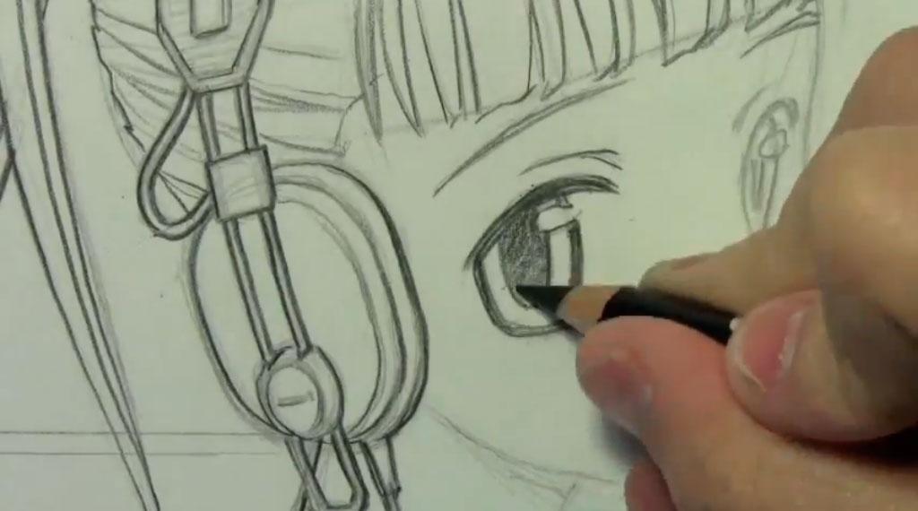 Рисуем аниме девушку с наушниками карандашами - шаг 7