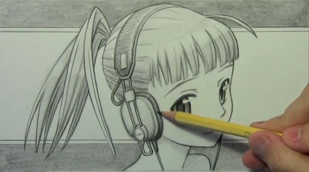 Рисуем аниме девушку с наушниками карандашами - шаг 8