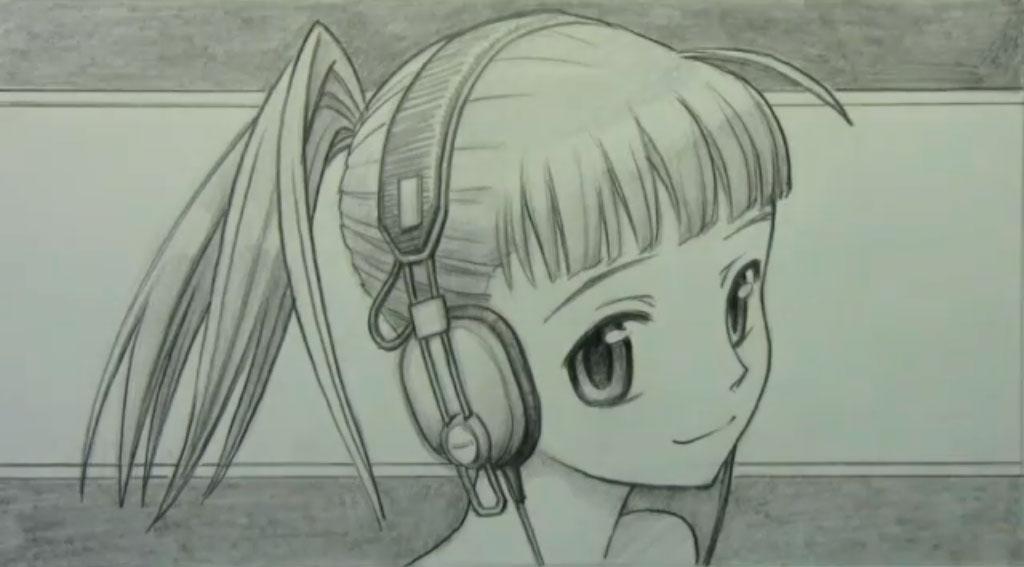 Рисуем аниме девушку с наушниками карандашами - шаг 9