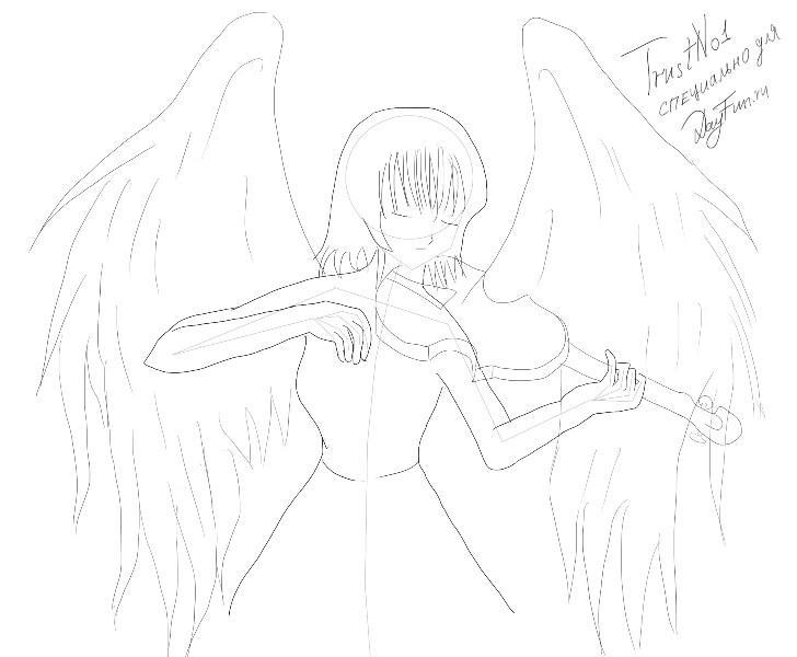 Рисуем аниме-ангела со скрипкой - шаг 3