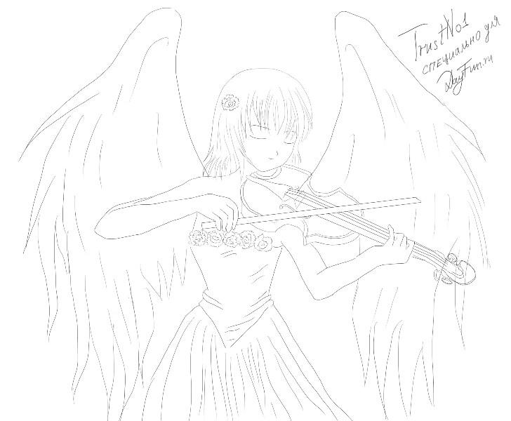 Рисуем аниме-ангела со скрипкой - шаг 5