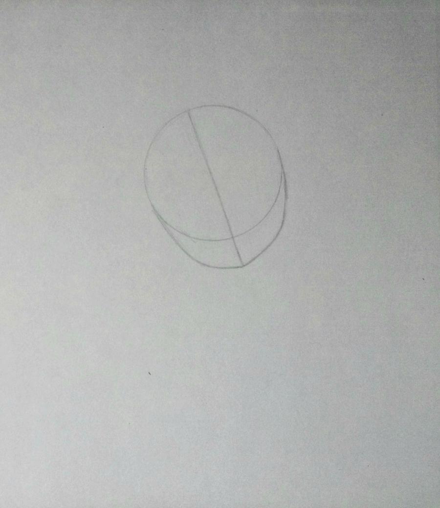 Рисуем аниме-девочку с лисенком цветными карандашами - шаг 1