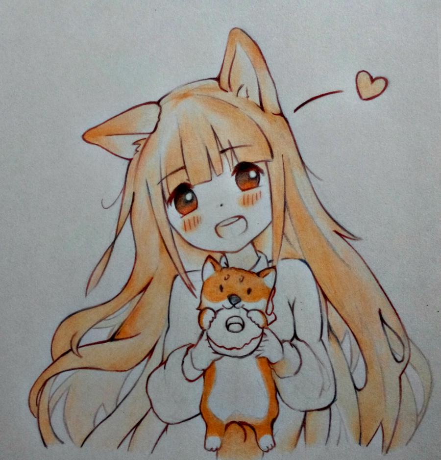 Рисуем аниме-девочку с лисенком цветными карандашами - шаг 10