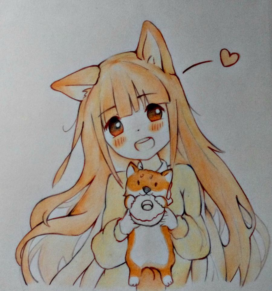 Рисуем аниме-девочку с лисенком цветными карандашами - шаг 11