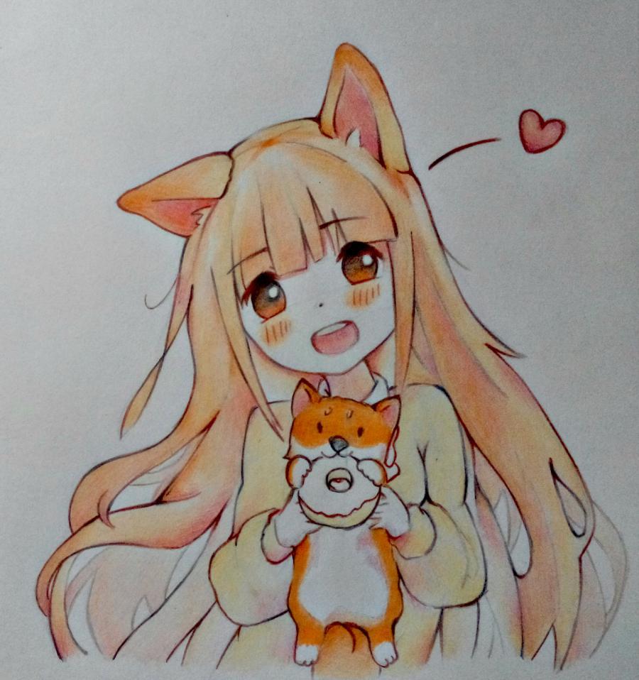 Рисуем аниме-девочку с лисенком цветными карандашами - шаг 12