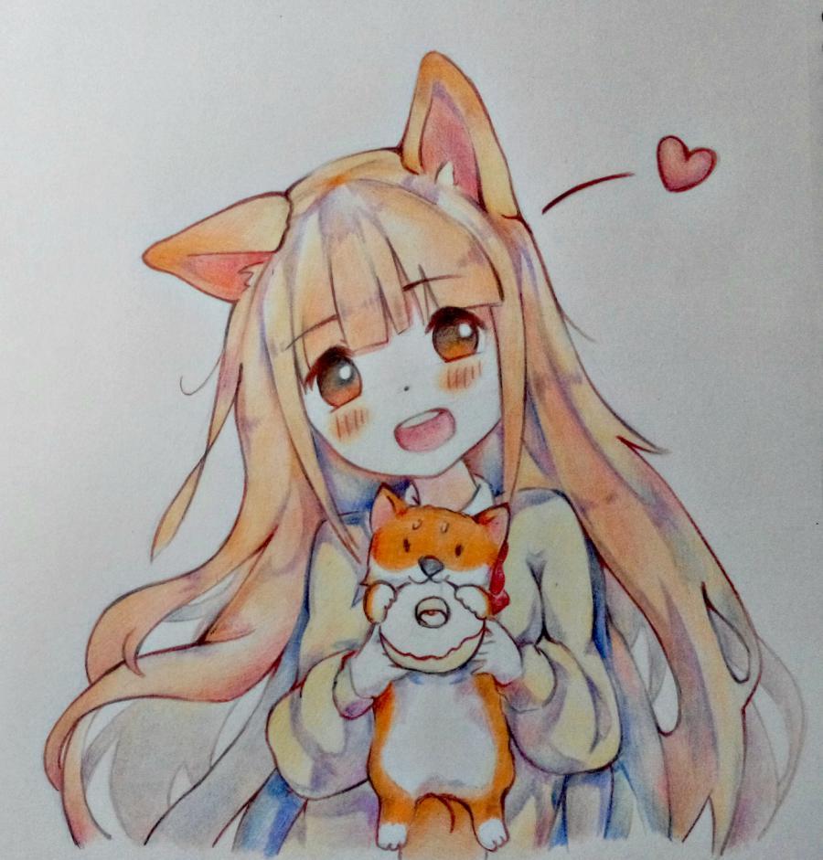 Рисуем аниме-девочку с лисенком цветными карандашами - шаг 13