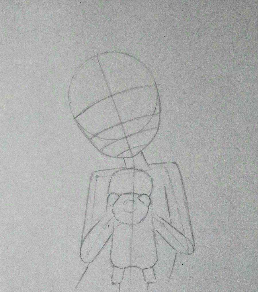 Рисуем аниме-девочку с лисенком цветными карандашами - шаг 4