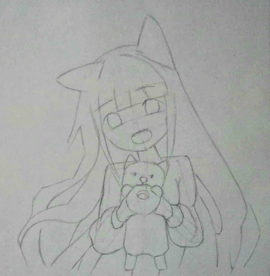 Рисуем аниме-девочку с лисенком цветными карандашами - шаг 7