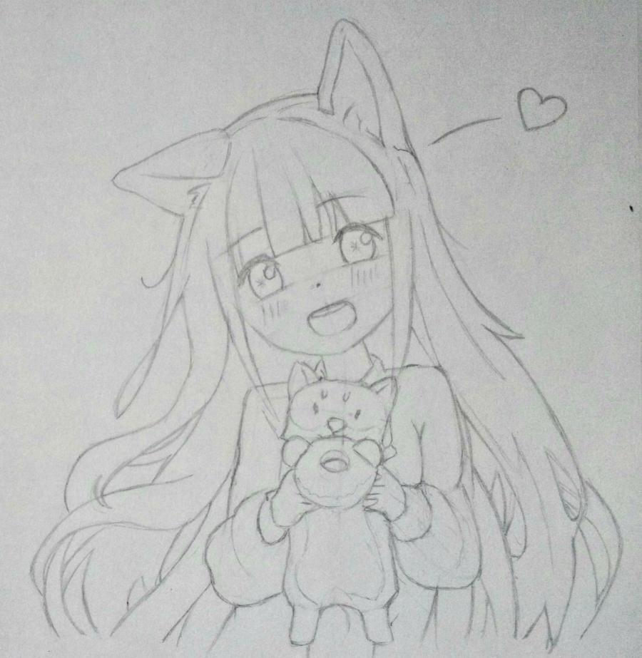 Рисуем аниме-девочку с лисенком цветными карандашами - шаг 8